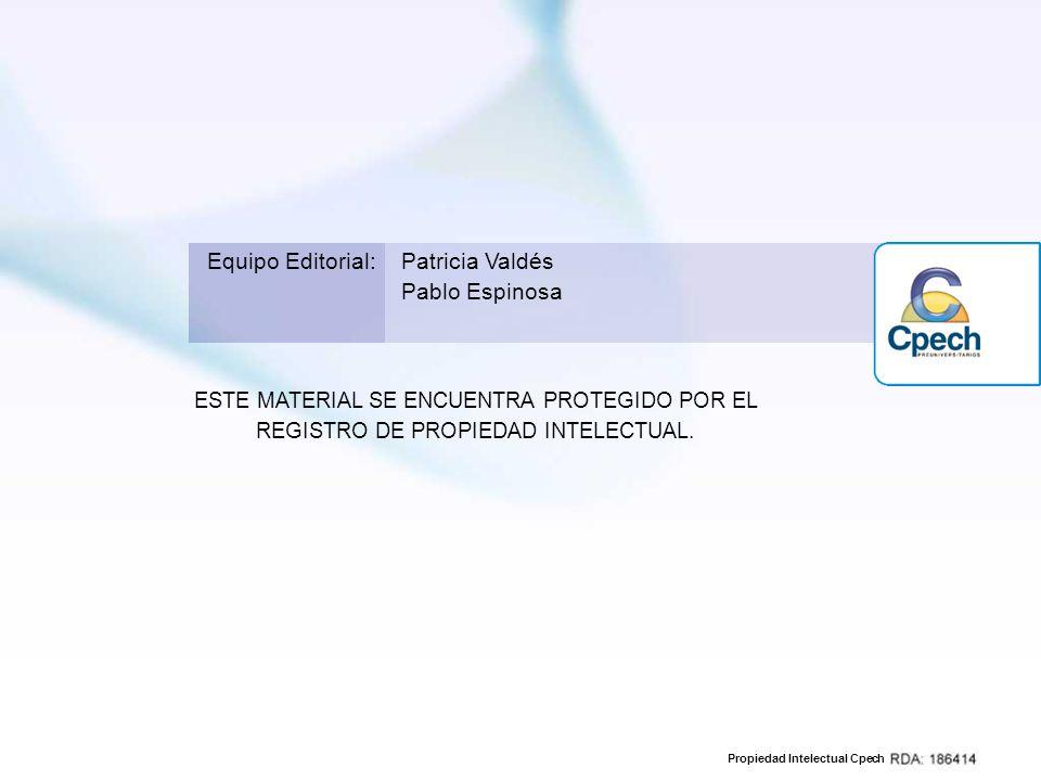 Propiedad Intelectual Cpech ESTE MATERIAL SE ENCUENTRA PROTEGIDO POR EL REGISTRO DE PROPIEDAD INTELECTUAL. Equipo Editorial:Patricia Valdés Pablo Espi