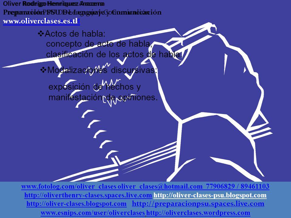 Oliver Rodrigo Henríquez Aracena Preparación PSU De Lenguaje y Comunicación www.oliverclases.es.tl Actos de habla: Modalizaciones discursivas: concepto de acto de habla, clasificación de los actos de habla.
