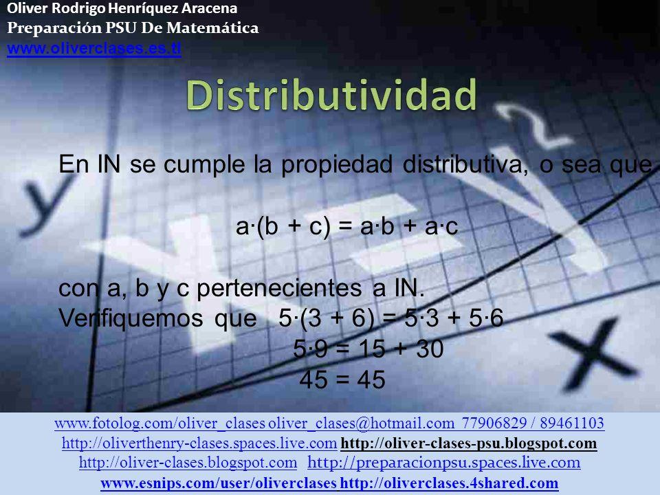 Oliver Rodrigo Henríquez Aracena Preparación PSU De Matemática www.oliverclases.es.tl El neutro multiplicativo en IN es el 1 ya que todo elemento de IN multiplicado por 1, resulta el mismo elemento a · 1 = a con a perteneciente a IN.