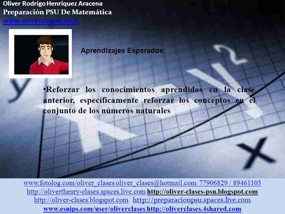 Oliver Rodrigo Henríquez Aracena Preparación PSU De Matemática www.oliverclases.es.tl Aprendizajes Esperados: Reforzar los conocimientos aprendidos en la clase anterior, específicamente reforzar los conceptos en el conjunto de los números naturales www.fotolog.com/oliver_clases oliver_clases@hotmail.com 77906829 / 89461103 http://oliverthenry-clases.spaces.live.comhttp://oliverthenry-clases.spaces.live.com http://oliver-clases-psu.blogspot.com http://oliver-clases.blogspot.comhttp://oliver-clases.blogspot.com http://preparacionpsu.spaces.live.com http://preparacionpsu.spaces.live.com www.esnips.com/user/oliverclaseswww.esnips.com/user/oliverclases http://oliverclases.4shared.comhttp://oliverclases.4shared.com