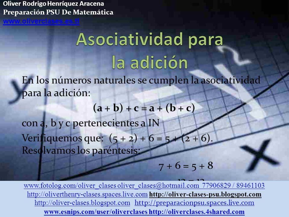 Oliver Rodrigo Henríquez Aracena Preparación PSU De Matemática www.oliverclases.es.tl En los números naturales se cumplen la asociatividad para la adición: (a + b) + c = a + (b + c) con a, b y c pertenecientes a IN Verifiquemos que: (5 + 2) + 6 = 5 + (2 + 6).