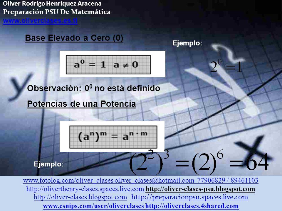 Oliver Rodrigo Henríquez Aracena Preparación PSU De Matemática www.oliverclases.es.tl 3.- Multiplicación de potencias de distinta base e igual exponente 4.- División de potencias de distinta base e igual exponente Ejemplo: www.fotolog.com/oliver_clases oliver_clases@hotmail.com 77906829 / 89461103 http://oliverthenry-clases.spaces.live.comhttp://oliverthenry-clases.spaces.live.com http://oliver-clases-psu.blogspot.com http://oliver-clases.blogspot.comhttp://oliver-clases.blogspot.com http://preparacionpsu.spaces.live.com http://preparacionpsu.spaces.live.com www.esnips.com/user/oliverclaseswww.esnips.com/user/oliverclases http://oliverclases.4shared.comhttp://oliverclases.4shared.com