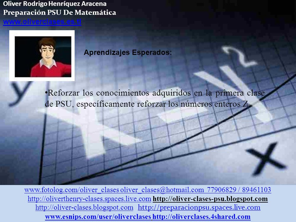 Oliver Rodrigo Henríquez Aracena Preparación PSU De Matemática www.oliverclases.es.tl Aprendizajes Esperados: Reforzar los conocimientos adquiridos en la primera clase de PSU, específicamente reforzar los números enteros Z www.fotolog.com/oliver_clases oliver_clases@hotmail.com 77906829 / 89461103 http://oliverthenry-clases.spaces.live.comhttp://oliverthenry-clases.spaces.live.com http://oliver-clases-psu.blogspot.com http://oliver-clases.blogspot.comhttp://oliver-clases.blogspot.com http://preparacionpsu.spaces.live.com http://preparacionpsu.spaces.live.com www.esnips.com/user/oliverclaseswww.esnips.com/user/oliverclases http://oliverclases.4shared.comhttp://oliverclases.4shared.com