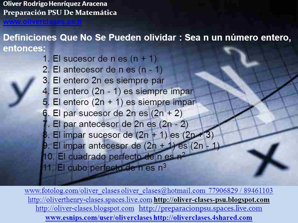 Oliver Rodrigo Henríquez Aracena Preparación PSU De Matemática www.oliverclases.es.tl Definiciones Que No Se Pueden olividar : Sea n un número entero, entonces: 1.