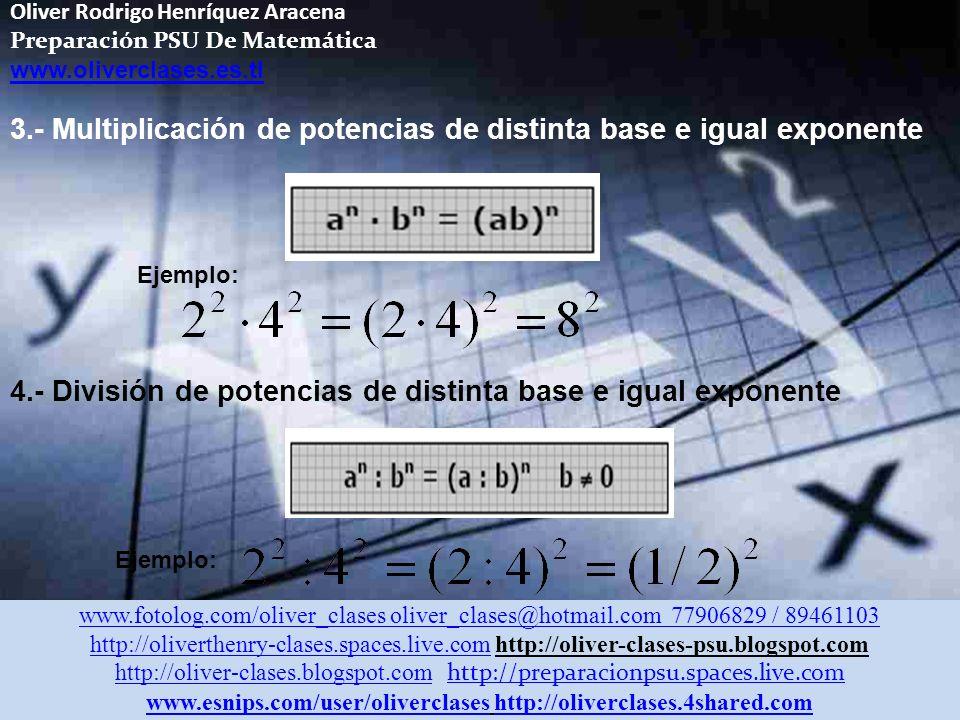 Oliver Rodrigo Henríquez Aracena Preparación PSU De Matemática www.oliverclases.es.tl Multiplicación y División De Potencias 1.- Multiplicación de potencias de igual base 2.- División de potencias de igual base Ejemplo: www.fotolog.com/oliver_clases oliver_clases@hotmail.com 77906829 / 89461103 http://oliverthenry-clases.spaces.live.comhttp://oliverthenry-clases.spaces.live.com http://oliver-clases-psu.blogspot.com http://oliver-clases.blogspot.comhttp://oliver-clases.blogspot.com http://preparacionpsu.spaces.live.com http://preparacionpsu.spaces.live.com www.esnips.com/user/oliverclaseswww.esnips.com/user/oliverclases http://oliverclases.4shared.comhttp://oliverclases.4shared.com
