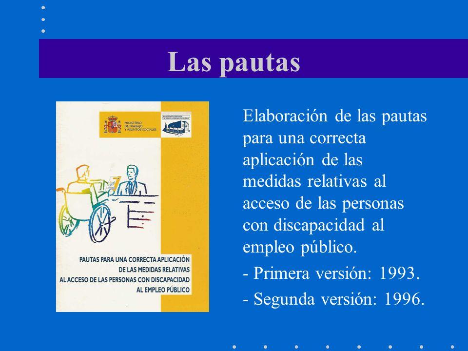 Las pautas Elaboración de las pautas para una correcta aplicación de las medidas relativas al acceso de las personas con discapacidad al empleo público.