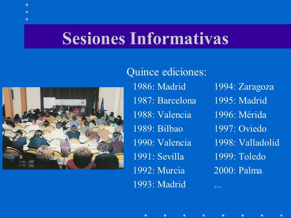 Sesiones Informativas Quince ediciones: 1986: Madrid1994: Zaragoza 1987: Barcelona1995: Madrid 1988: Valencia1996: Mérida 1989: Bilbao1997: Oviedo 1990: Valencia1998: Valladolid 1991: Sevilla1999: Toledo 1992: Murcia2000: Palma 1993: Madrid...