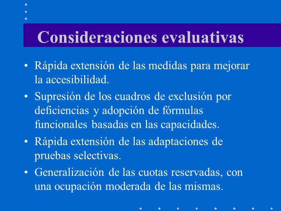 Consideraciones evaluativas Rápida extensión de las medidas para mejorar la accesibilidad. Supresión de los cuadros de exclusión por deficiencias y ad