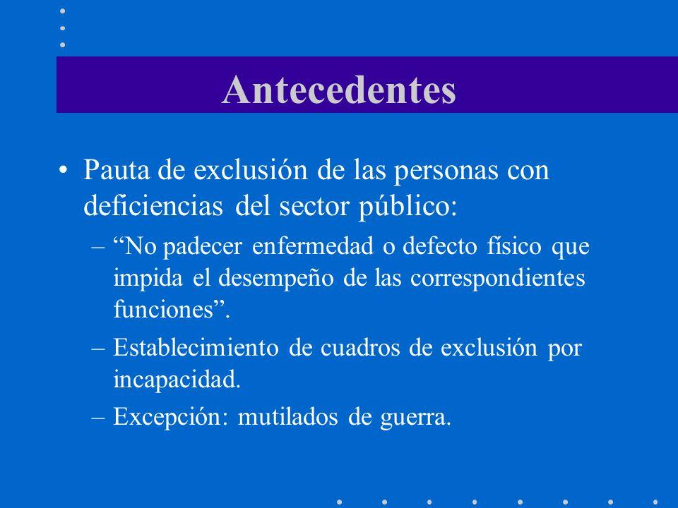 Antecedentes Pauta de exclusión de las personas con deficiencias del sector público: –No padecer enfermedad o defecto físico que impida el desempeño d