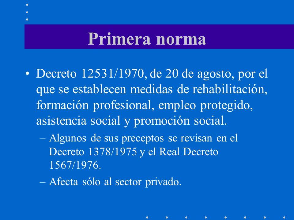 Primera norma Decreto 12531/1970, de 20 de agosto, por el que se establecen medidas de rehabilitación, formación profesional, empleo protegido, asistencia social y promoción social.