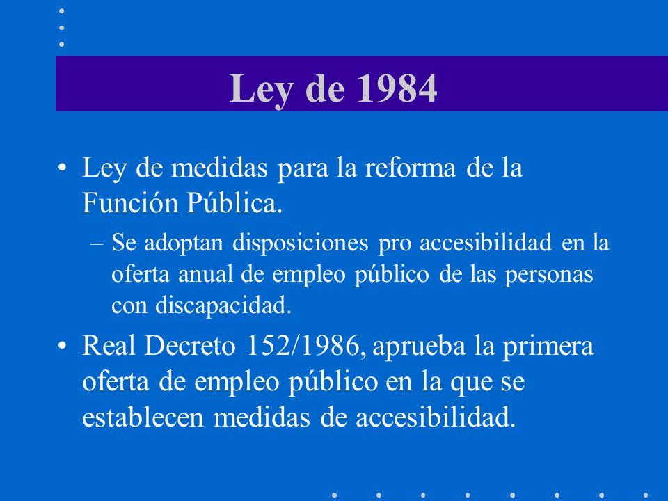 Ley de 1984 Ley de medidas para la reforma de la Función Pública. –Se adoptan disposiciones pro accesibilidad en la oferta anual de empleo público de
