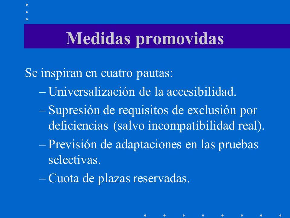 Medidas promovidas Se inspiran en cuatro pautas: –Universalización de la accesibilidad. –Supresión de requisitos de exclusión por deficiencias (salvo