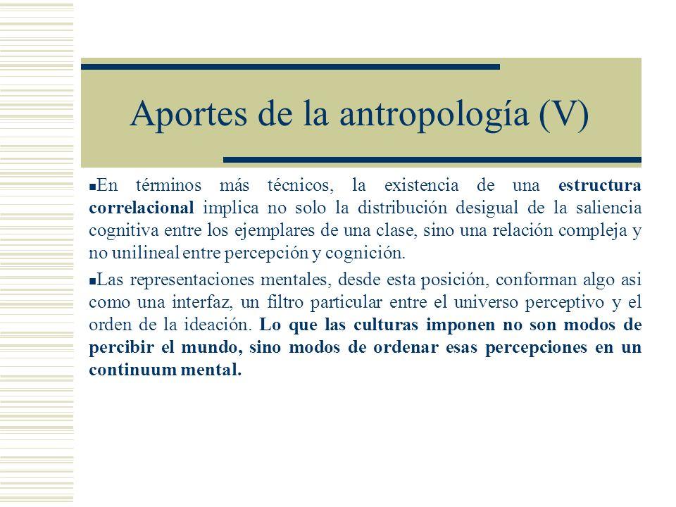 Aportes de la antropología (V) En términos más técnicos, la existencia de una estructura correlacional implica no solo la distribución desigual de la