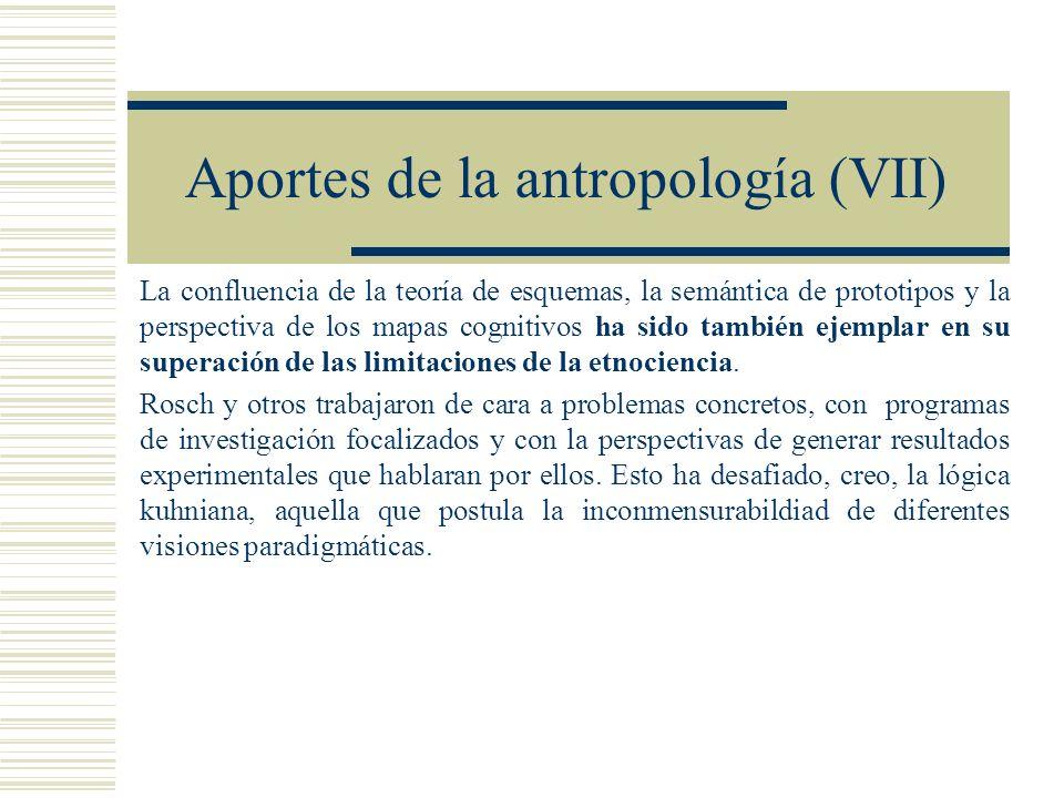 Aportes de la antropología (VII) La confluencia de la teoría de esquemas, la semántica de prototipos y la perspectiva de los mapas cognitivos ha sido