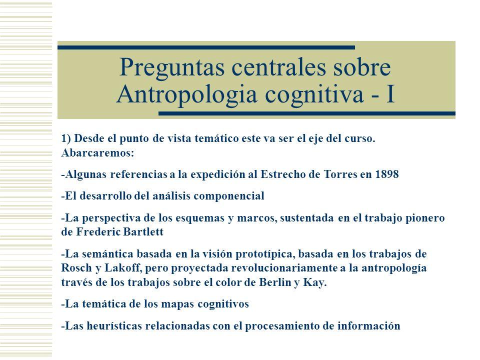 Preguntas centrales sobre Antropologia cognitiva - I 1) Desde el punto de vista temático este va ser el eje del curso.