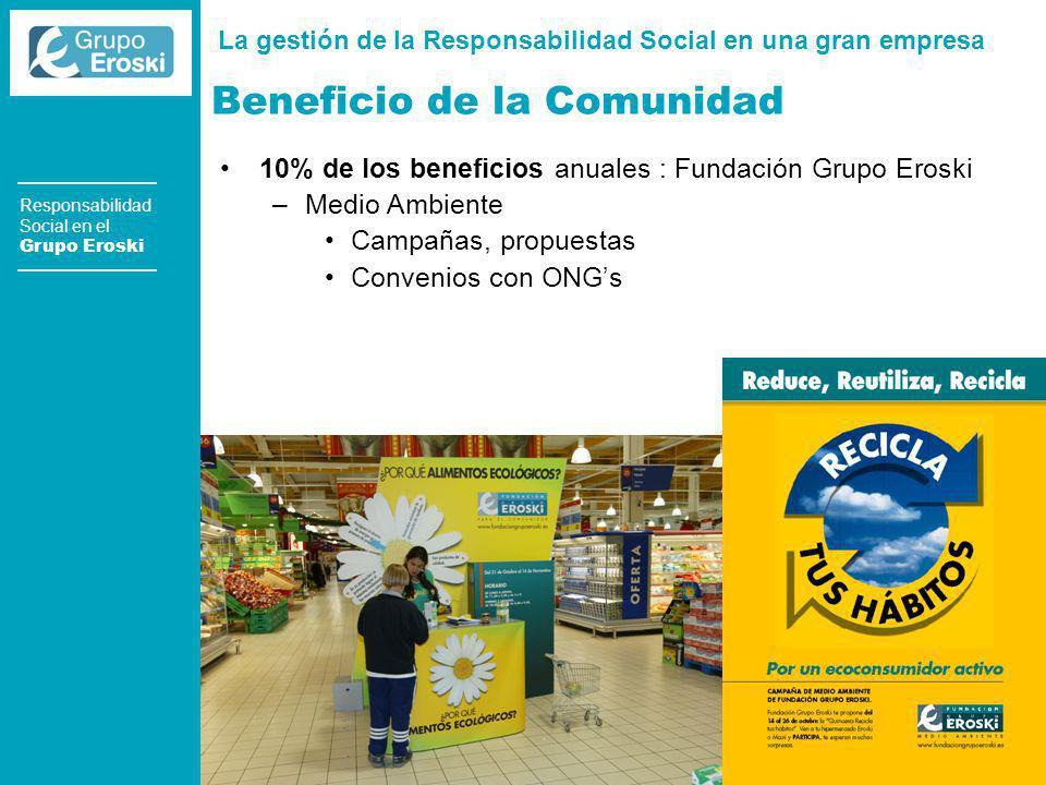 La gestión de la Responsabilidad Social en una gran empresa [Madrid] 18 de junio de 2003 Responsabilidad Social en el Grupo Eroski Beneficio de la Comunidad 10% de los beneficios anuales : Fundación Grupo Eroski –Medio Ambiente Campañas, propuestas Convenios con ONGs
