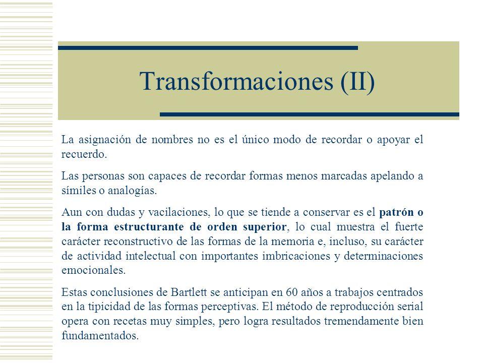 Transformaciones (II) La asignación de nombres no es el único modo de recordar o apoyar el recuerdo.