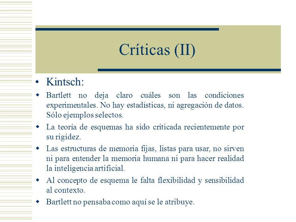 Críticas (II) Kintsch: Bartlett no deja claro cuáles son las condiciones experimentales.