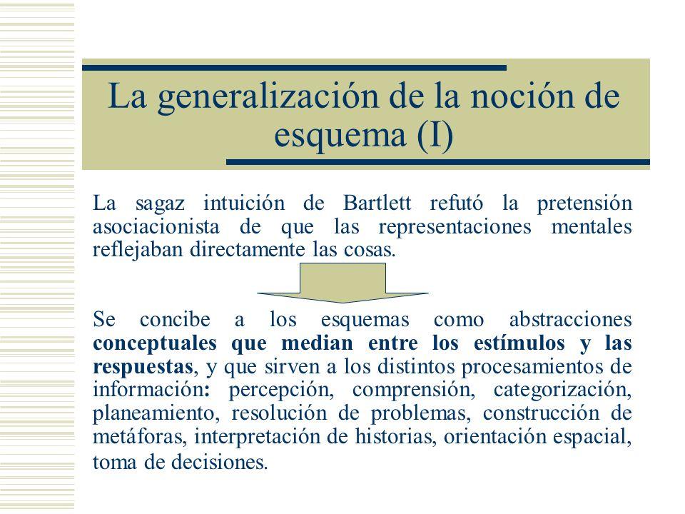 La generalización de la noción de esquema (I) La sagaz intuición de Bartlett refutó la pretensión asociacionista de que las representaciones mentales reflejaban directamente las cosas.