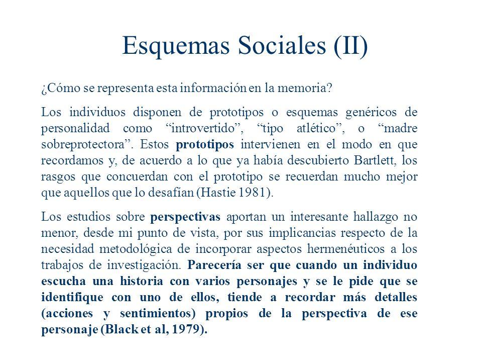 Esquemas Sociales (II) ¿Cómo se representa esta información en la memoria.