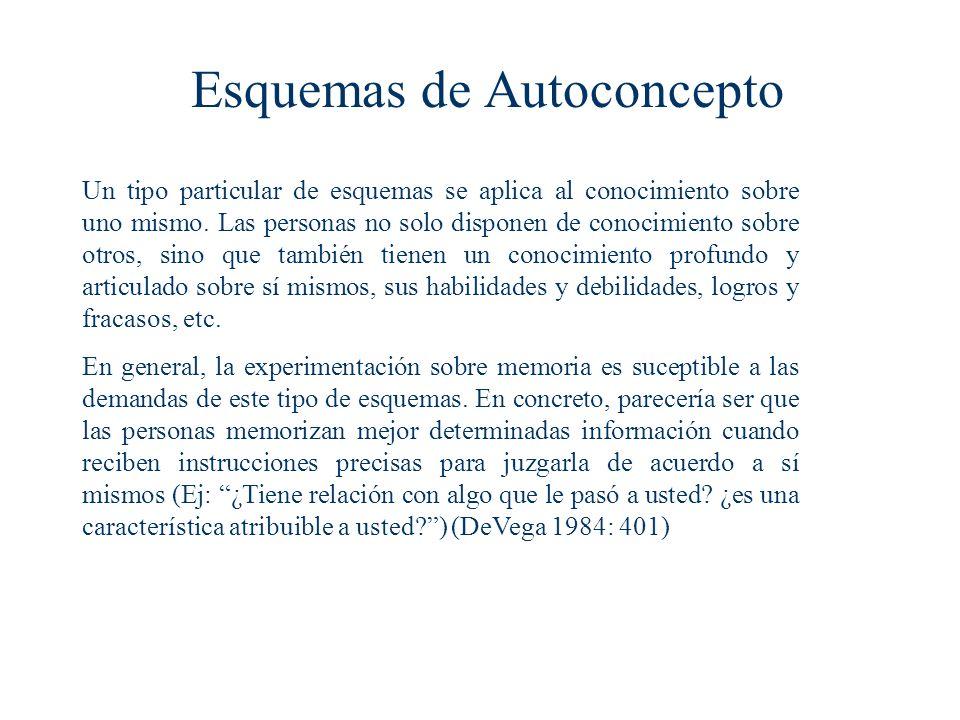 Esquemas de Autoconcepto Un tipo particular de esquemas se aplica al conocimiento sobre uno mismo.