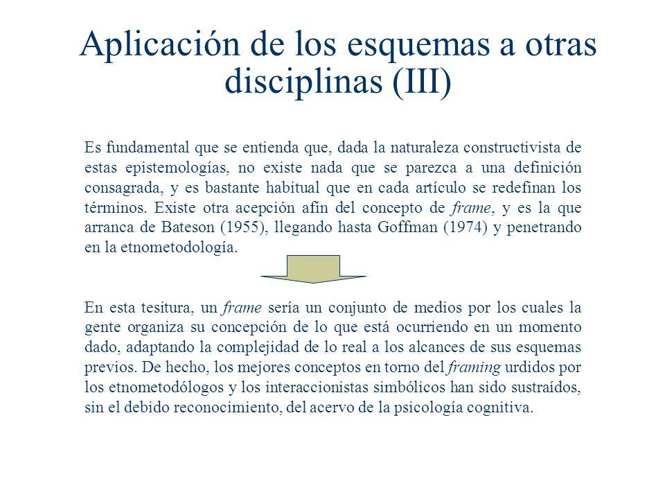 Aplicación de los esquemas a otras disciplinas (III) Es fundamental que se entienda que, dada la naturaleza constructivista de estas epistemologías, no existe nada que se parezca a una definición consagrada, y es bastante habitual que en cada artículo se redefinan los términos.