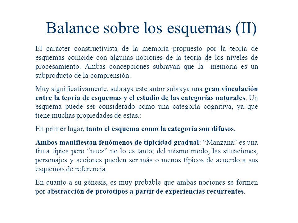Balance sobre los esquemas (II) El carácter constructivista de la memoria propuesto por la teoría de esquemas coincide con algunas nociones de la teoría de los niveles de procesamiento.