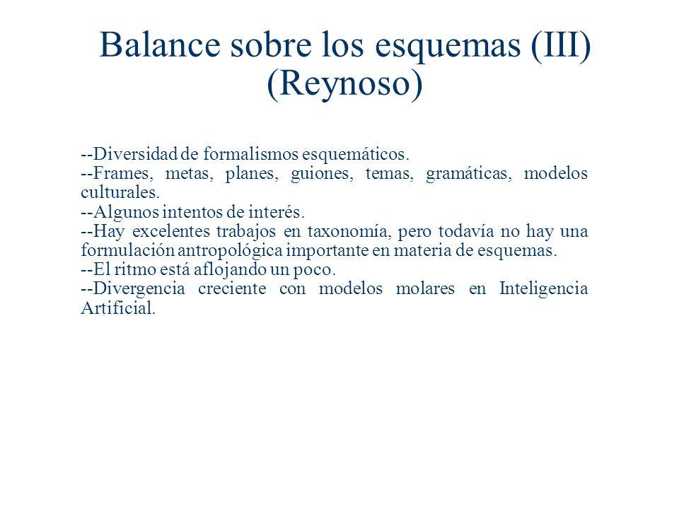Balance sobre los esquemas (III) (Reynoso) --Diversidad de formalismos esquemáticos.