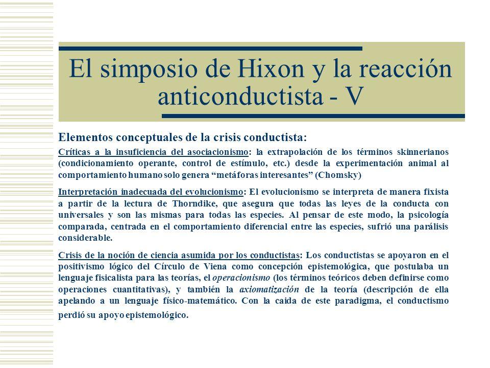 El simposio de Hixon y la reacción anticonductista - V Elementos conceptuales de la crisis conductista: Críticas a la insuficiencia del asociacionismo