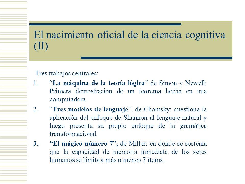 El nacimiento oficial de la ciencia cognitiva (II) Tres trabajos centrales: 1.La máquina de la teoría lógica de Simon y Newell: Primera demostración d