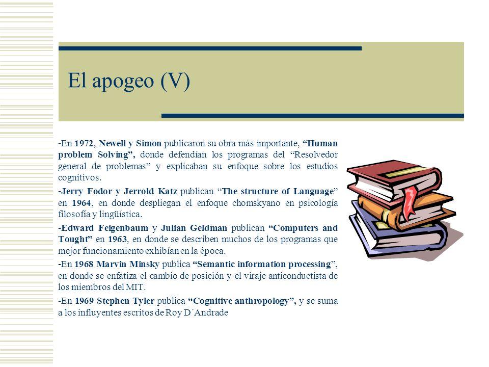 El apogeo (V) -En 1972, Newell y Simon publicaron su obra más importante, Human problem Solving, donde defendían los programas del Resolvedor general