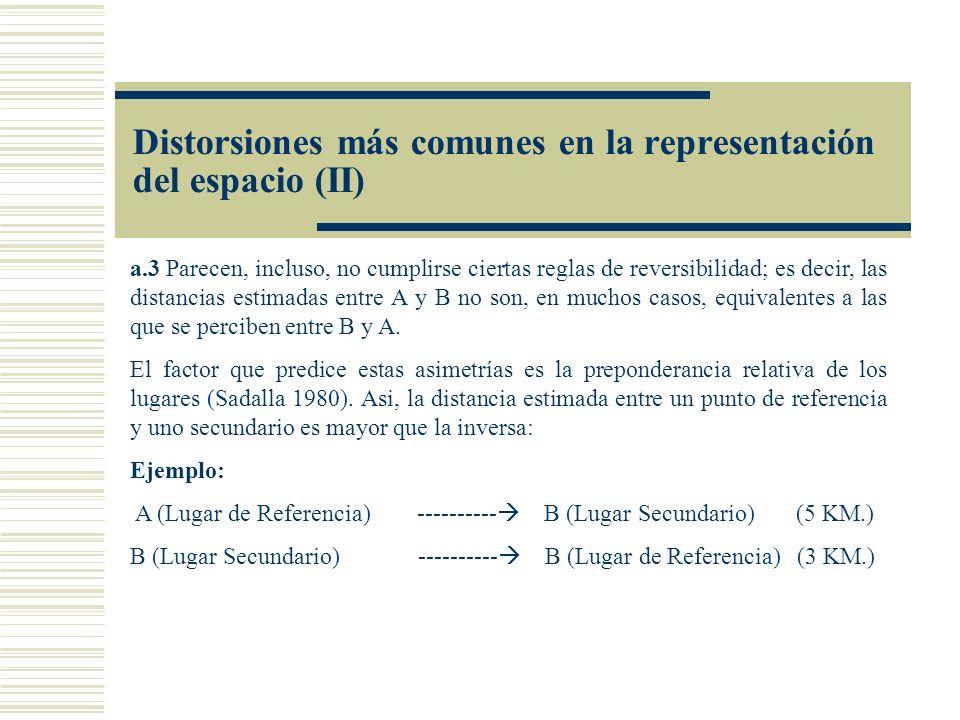 a.3 Parecen, incluso, no cumplirse ciertas reglas de reversibilidad; es decir, las distancias estimadas entre A y B no son, en muchos casos, equivalen