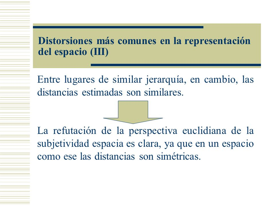 Entre lugares de similar jerarquía, en cambio, las distancias estimadas son similares. La refutación de la perspectiva euclidiana de la subjetividad e