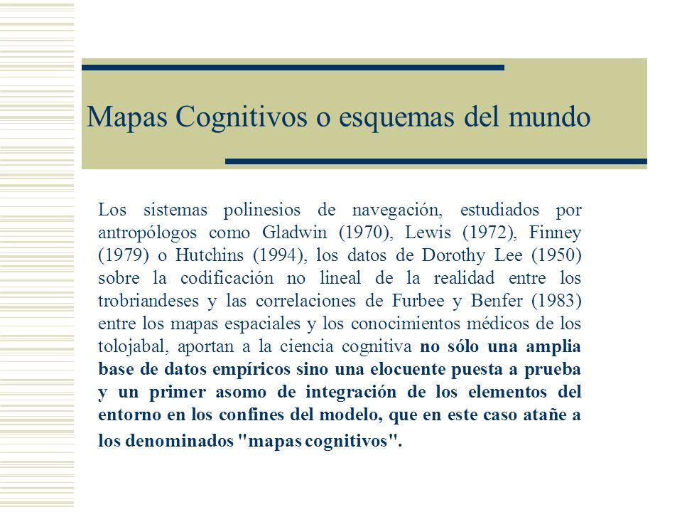 Mapas Cognitivos o esquemas del mundo Los sistemas polinesios de navegación, estudiados por antropólogos como Gladwin (1970), Lewis (1972), Finney (19