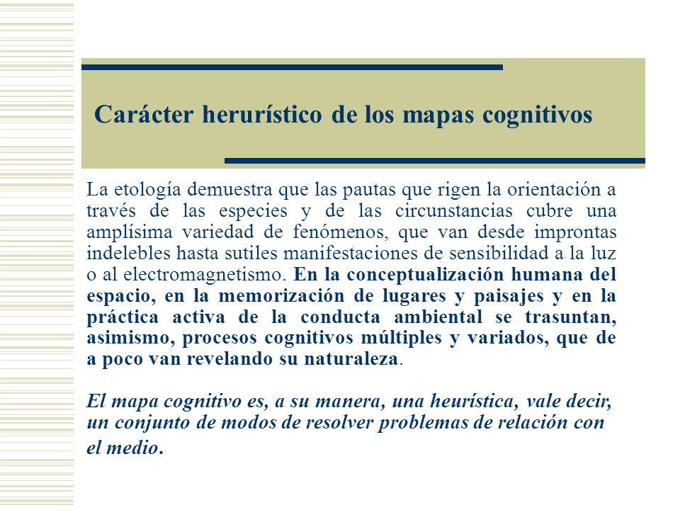 Carácter herurístico de los mapas cognitivos La etología demuestra que las pautas que rigen la orientación a través de las especies y de las circunsta