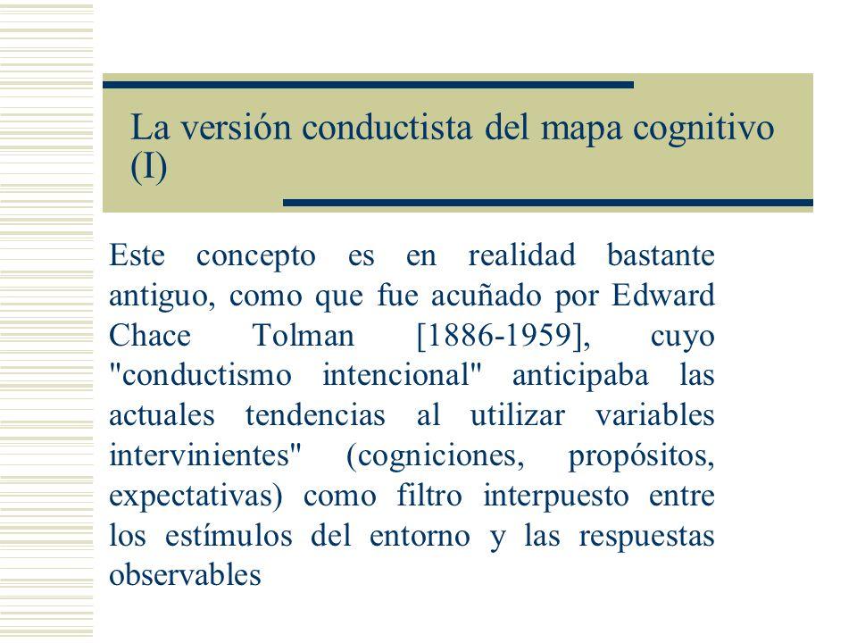 La versión conductista del mapa cognitivo (II) Cognitive maps in rats and men (1948) Las ratas de Berkeley tardaban cada vez menos en recorrer el laberinto Escogían alternativas cuando el camino aprendido estaba bloqueado No hay discusión sobre los hechos – El problema es la interpretación Hay dos escuelas Estímulo/respuesta, reforzamiento de conexiones Teóricos de campo: En el aprendizaje, se establece una especie de mapa en el cerebro