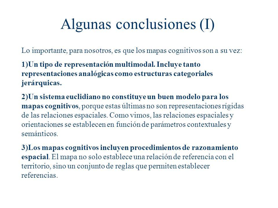Algunas conclusiones (I) Lo importante, para nosotros, es que los mapas cognitivos son a su vez: 1)Un tipo de representación multimodal. Incluye tanto