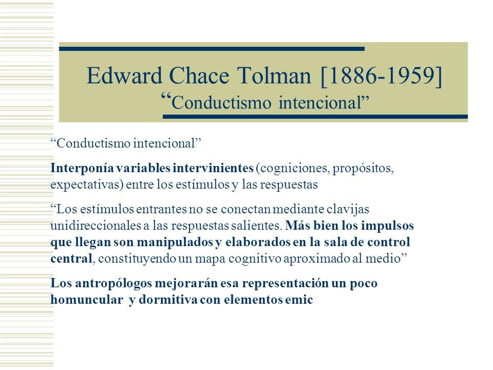 Edward Chace Tolman [1886-1959] Conductismo intencional Conductismo intencional Interponía variables intervinientes (cogniciones, propósitos, expectat