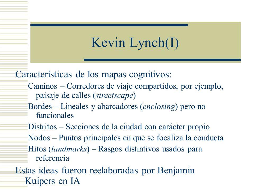 Kevin Lynch(I) Características de los mapas cognitivos: Caminos – Corredores de viaje compartidos, por ejemplo, paisaje de calles (streetscape) Bordes