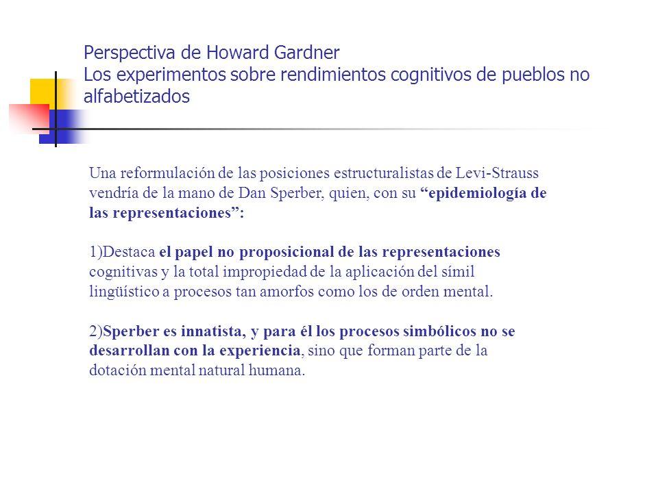 Perspectiva de Howard Gardner Los experimentos sobre rendimientos cognitivos de pueblos no alfabetizados Una reformulación de las posiciones estructur