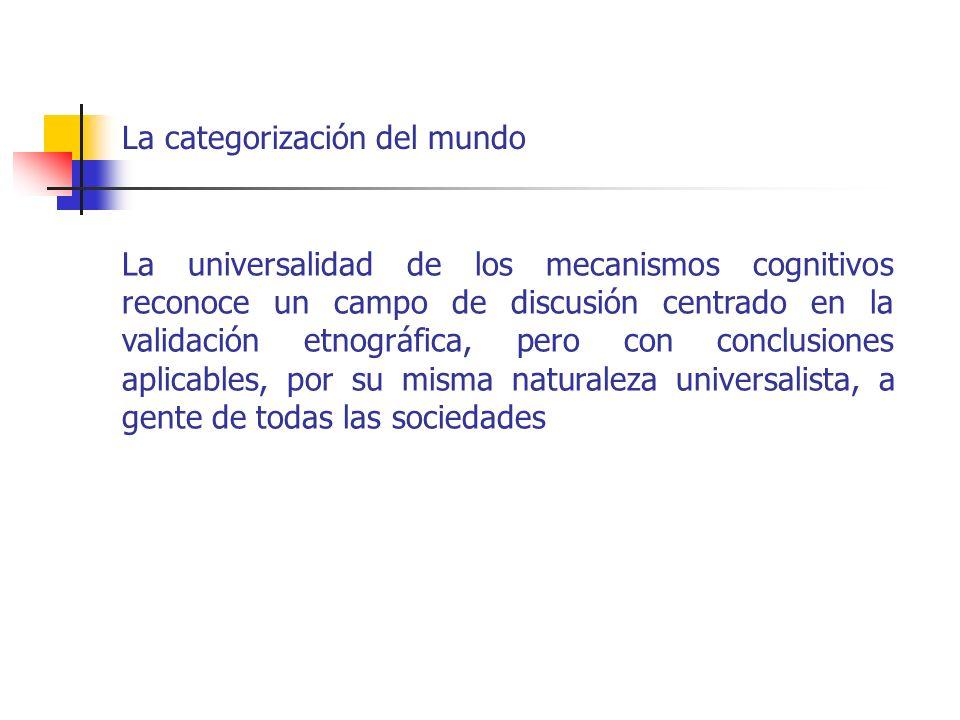 La categorización del mundo La universalidad de los mecanismos cognitivos reconoce un campo de discusión centrado en la validación etnográfica, pero c