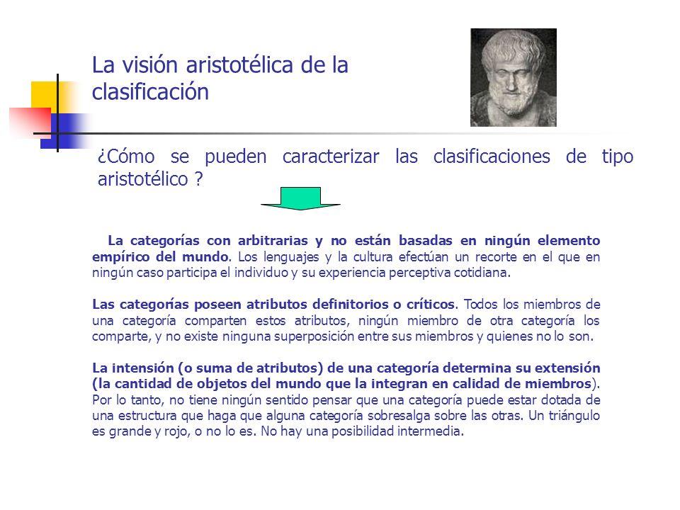 La visión aristotélica de la clasificación ¿Cómo se pueden caracterizar las clasificaciones de tipo aristotélico ? La categorías con arbitrarias y no