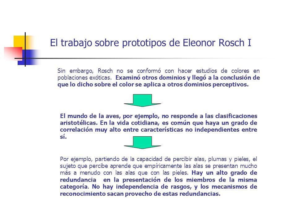El trabajo sobre prototipos de Eleonor Rosch I Sin embargo, Rosch no se conformó con hacer estudios de colores en poblaciones exóticas. Examinó otros