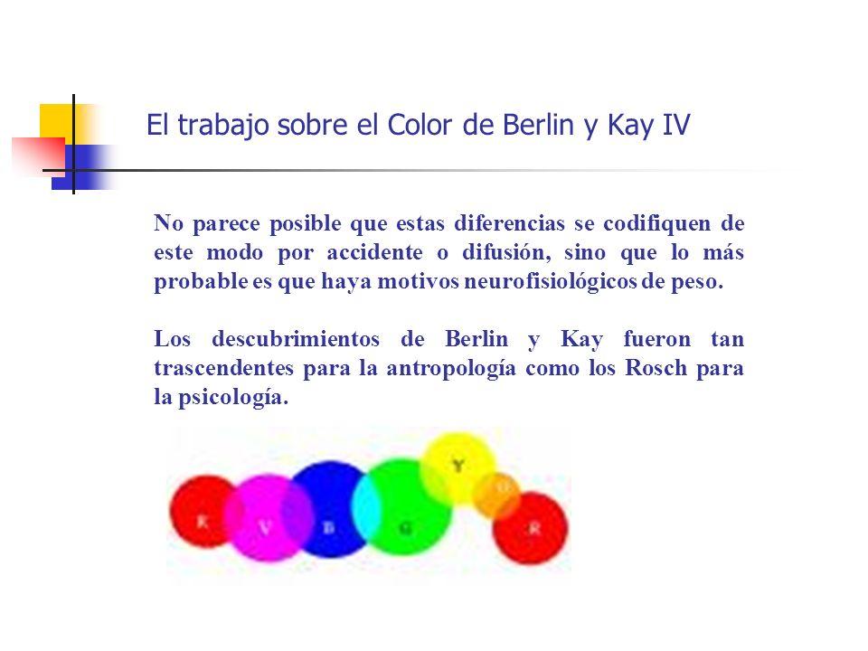 El trabajo sobre el Color de Berlin y Kay IV No parece posible que estas diferencias se codifiquen de este modo por accidente o difusión, sino que lo