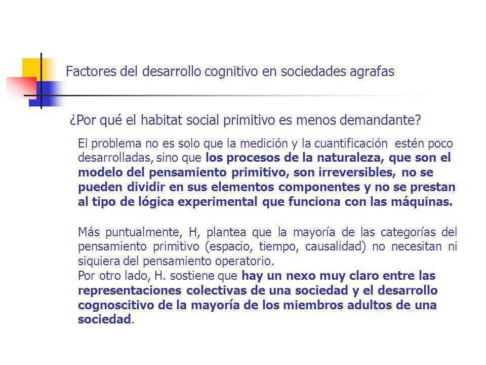 Factores del desarrollo cognitivo en sociedades agrafas ¿Por qué el habitat social primitivo es menos demandante? El problema no es solo que la medici