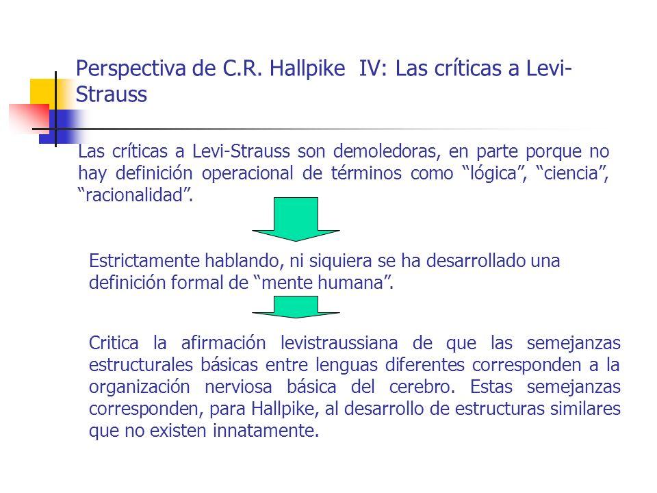 Perspectiva de C.R. Hallpike IV: Las críticas a Levi- Strauss Las críticas a Levi-Strauss son demoledoras, en parte porque no hay definición operacion