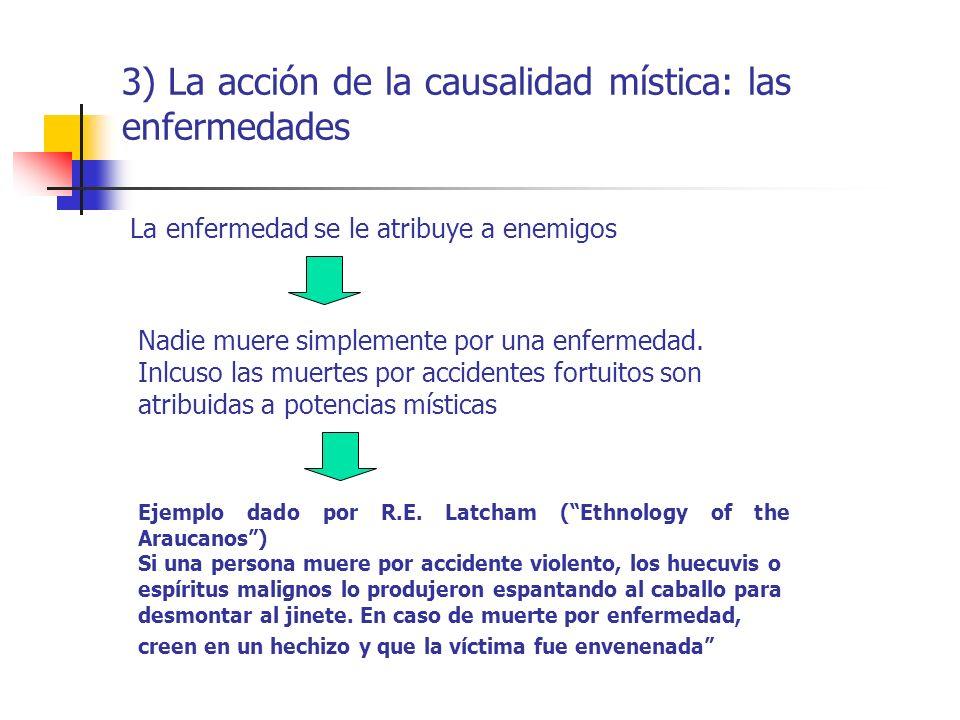 3) La acción de la causalidad mística: las enfermedades La enfermedad se le atribuye a enemigos Nadie muere simplemente por una enfermedad. Inlcuso la