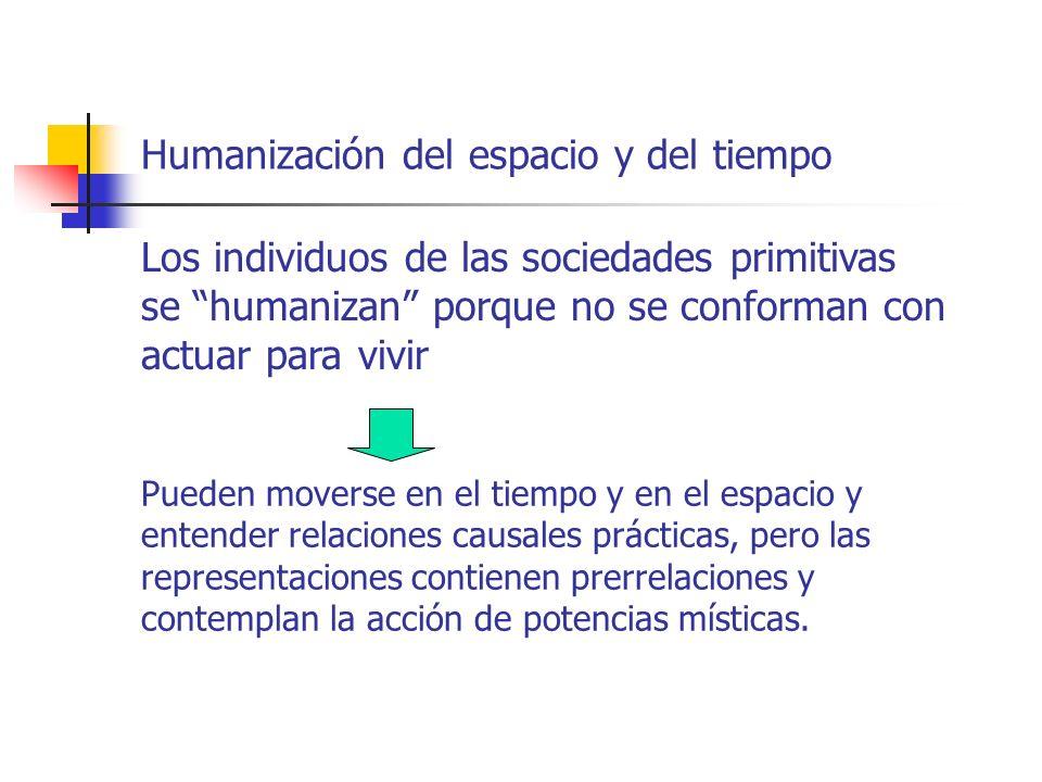 Humanización del espacio y del tiempo Los individuos de las sociedades primitivas se humanizan porque no se conforman con actuar para vivir Pueden mov