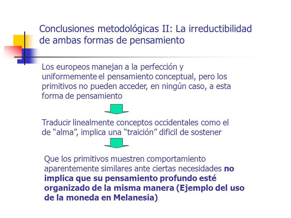 Conclusiones metodológicas II: La irreductibilidad de ambas formas de pensamiento Traducir linealmente conceptos occidentales como el de alma, implica