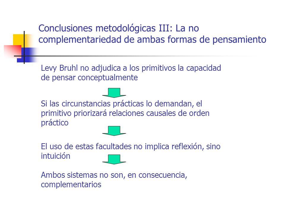 Conclusiones metodológicas III: La no complementariedad de ambas formas de pensamiento Si las circunstancias prácticas lo demandan, el primitivo prior